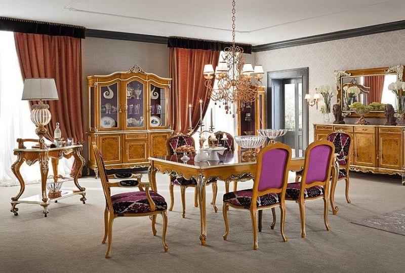 Style Louis XV, Table à Manger En Noyer, Frise à Motfs Argentés Et Pieds