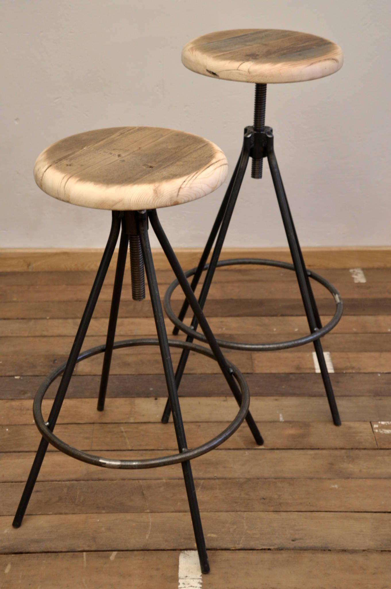 Industrial Loft Bar Stool With Hardwood Seat Ideal As A