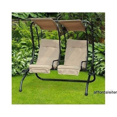 Swing Outdoor Chair 2 Seat Patio Covered Porch Loveseat Hammock W Canopy