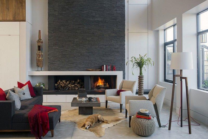 Steinwand-Wohnzimmer-Verblender-Kaminverkleidung-modern Wohnzimmer - wohnzimmer design steinwand
