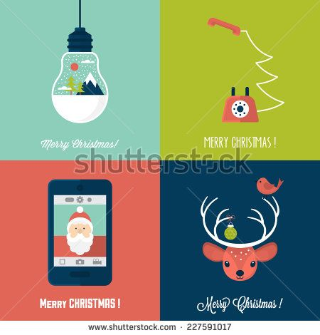 Modern Christmas card flat  stylish design. Set of Christmas cards with Santa…