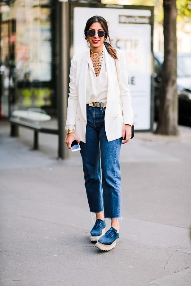 8f9d0a55d702c5 How to Wear Trendy Denim Culottes Like a Fashion Expert: Chic Outfit With Denim  Culottes - Wear a Longer Blazer