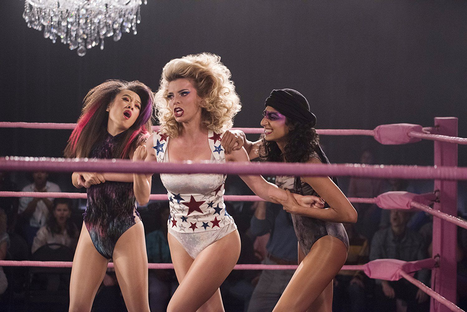 Betty Gilpin, Ellen Wong, and Sunita Mani in GLOW (2017