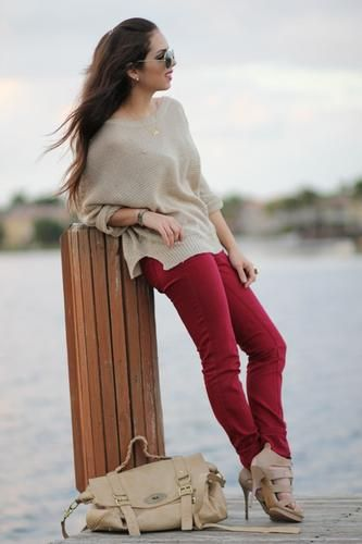 7630ef9063 Red + Beige Winter Outfit