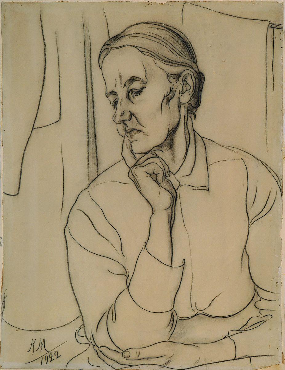 """Karlis Miesnieks """"Mother"""" 1922. Kartons, papīrs, zīmulis."""