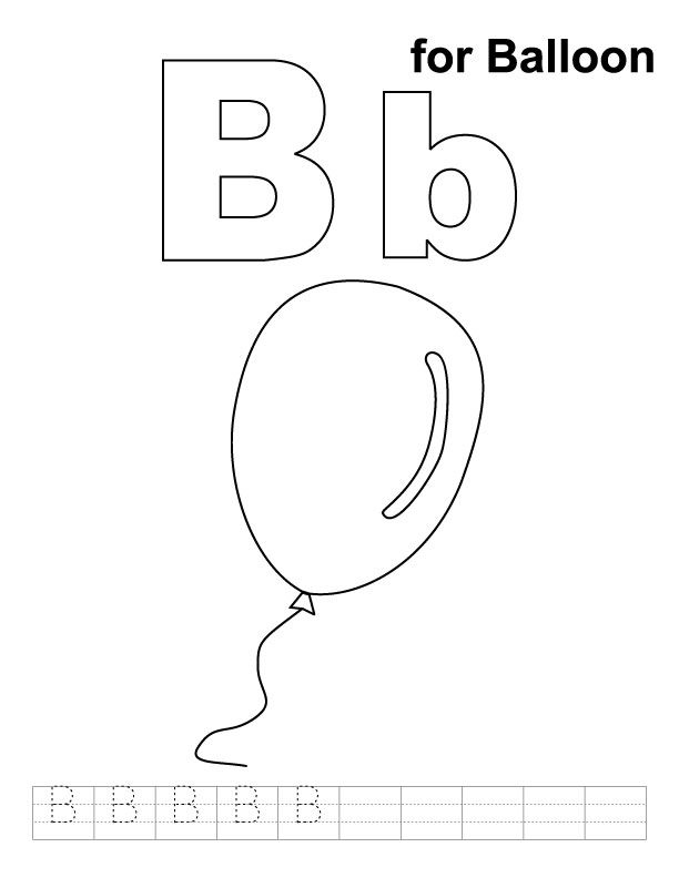B For Balloon Alphabet Coloring Pages With Handwriting Practice