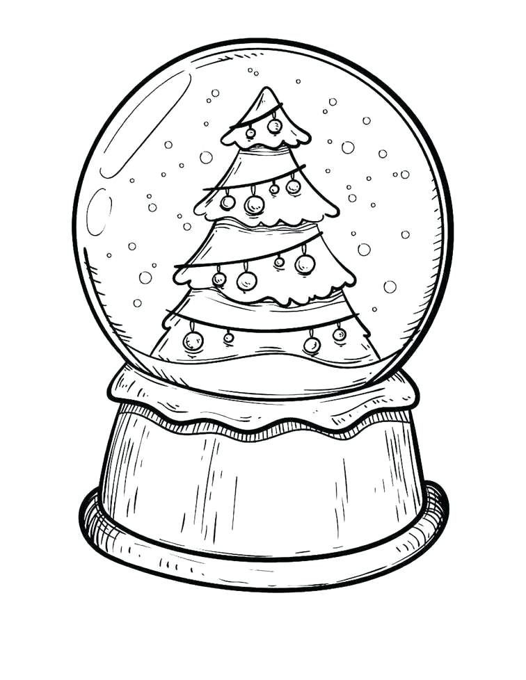 Snowglobe Coloring Pages Printable Christmas Coloring Pages