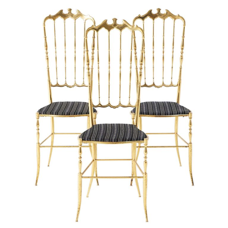 1stdibs.com | Very complete set of three similar Chiavari side chairs in brass