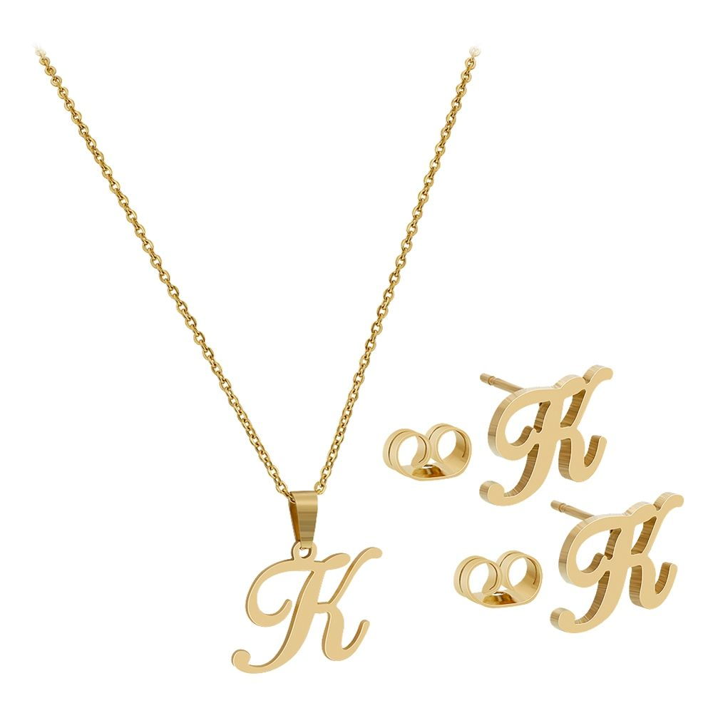 gold k pin tone steel inch jewelry chain stainless chains initial set