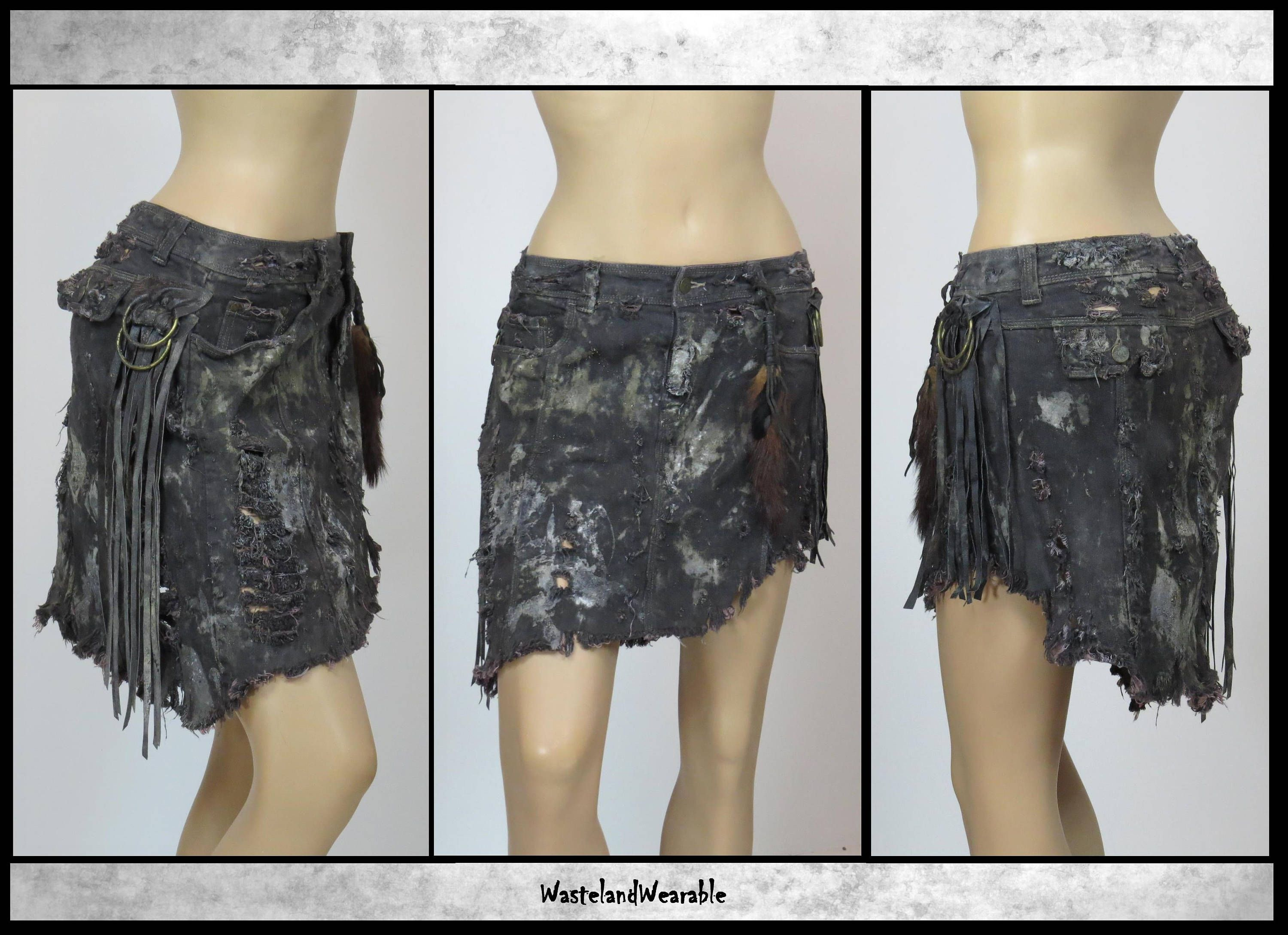Post APOCALYPTIC SKiRT Black LEATHER FRINGES Wasteland Skirt Mad Max Fury Road Skirt Size 12  The Walking Dead Skirt by WastelandWearable by WastelandWearable on Etsy