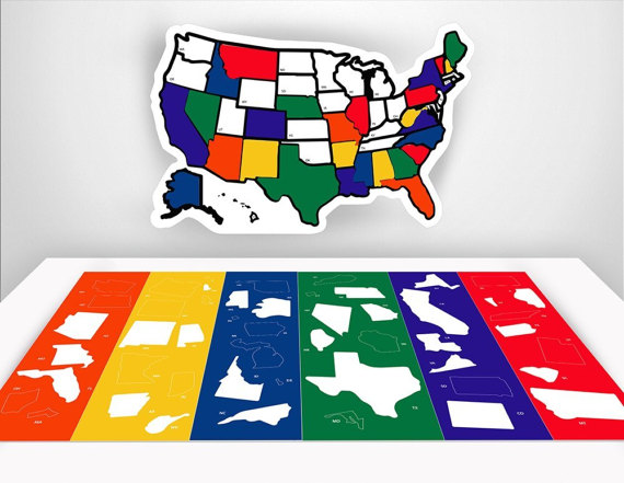 Rv State Sticker Travel Map 13 X 17 Usa States Etsy Window Stickers Travel Stickers Vinyl Sticker