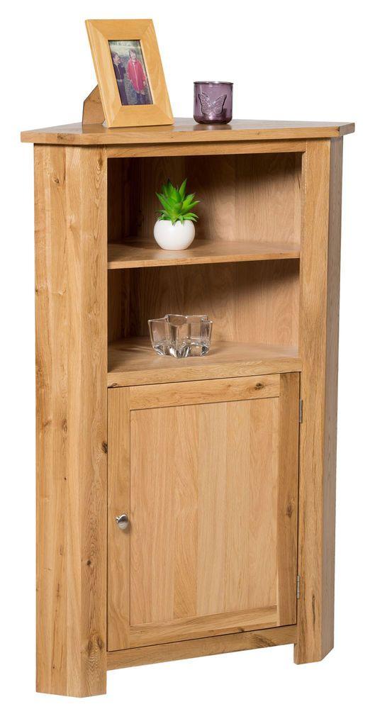 Tall Oak Corner Storage Cupboard Low Cabinet With Shelf Solid Wood Unit Oak Corner Cabinet Corner Storage Corner Unit Living Room