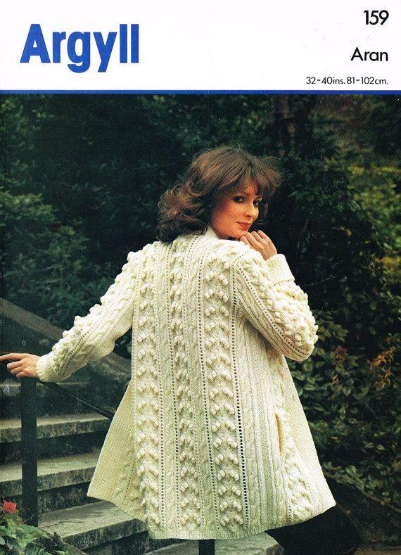 Argyll 159 ladies aran swing style coat vintage knitting ...