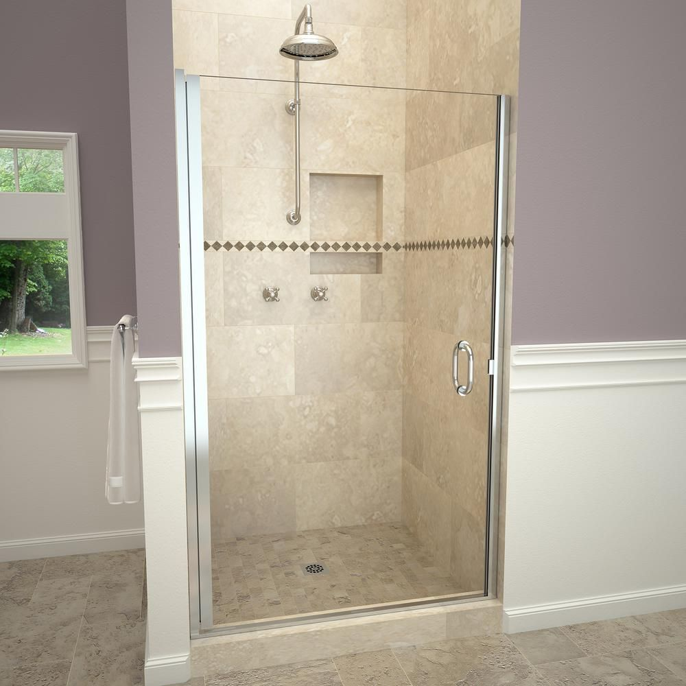 Redi Swing 1200 Series 33 In W X 72 In H Semi Frameless Pivot Shower Door In Polished Chrome With Pull Handle And Clear Glass 12rcpld03372 Shower Doors Framed Shower Door Tile Redi