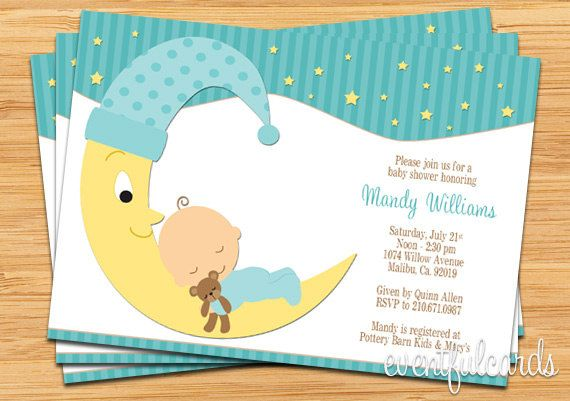 Moon and Stars Printable Baby Shower Invitation Printable baby