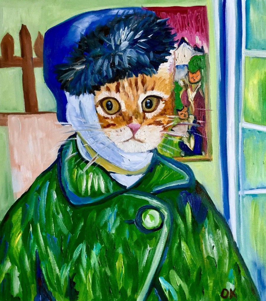 Confused cat La Vincent Van Gogh Famous self portraits