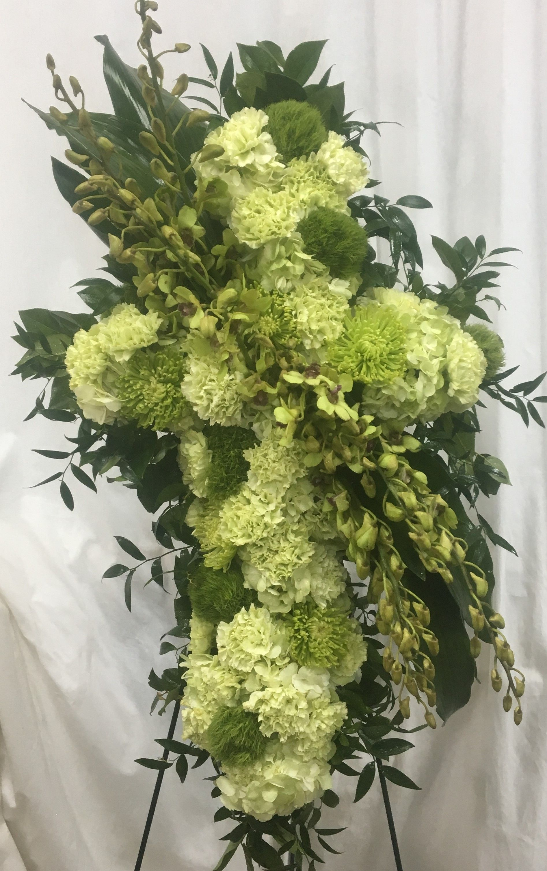 Shades of green in standard carnations trick mini hydrangeas and explore italian ruscus dendrobium orchids and more izmirmasajfo
