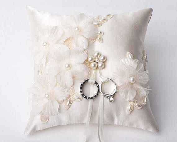 Wedding Ring Pillow Champagne Lace Bearer Pillow Wedding Ring