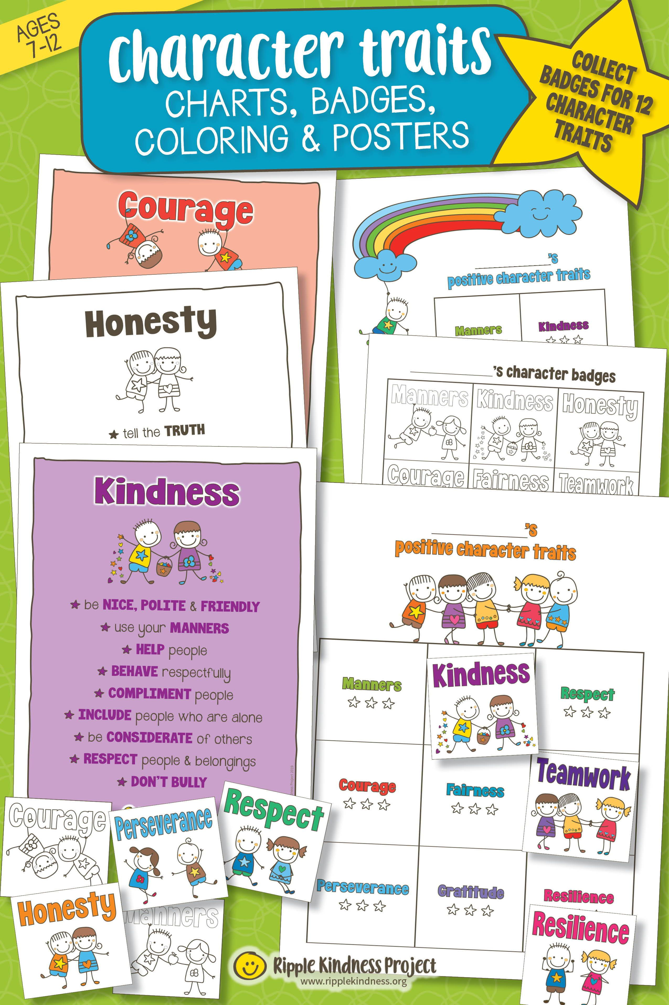Character Traits Charts Badges Coloring And Posters