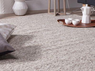 tapis laine et coton tiss main cru gris motifs tresse chandak 200x290cm - Tapis En Laine