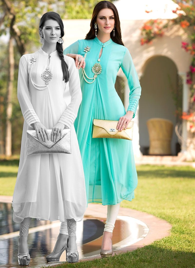 Fanciable Turquoise Georgette Kurti