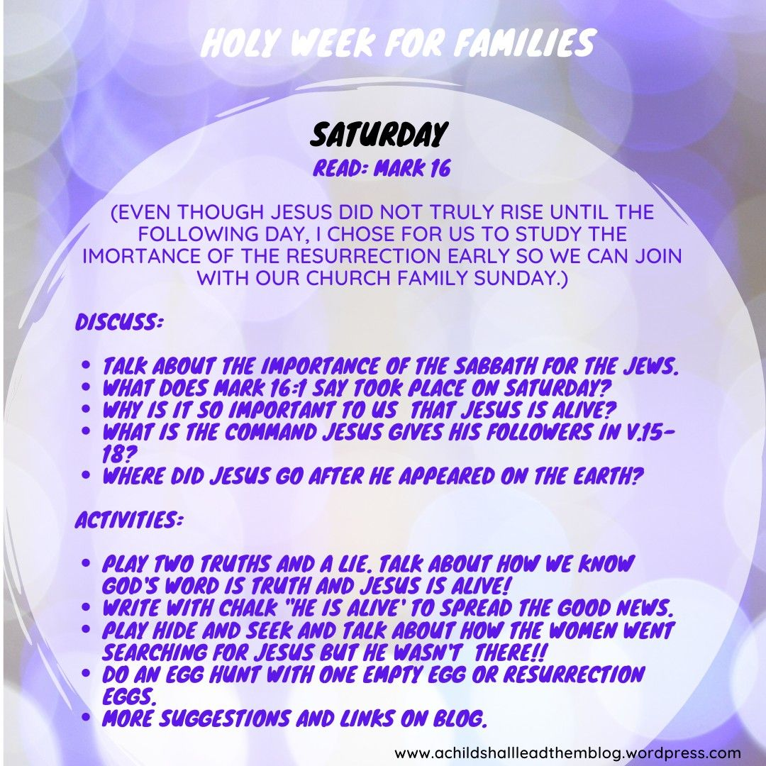 Holy Week For Families In