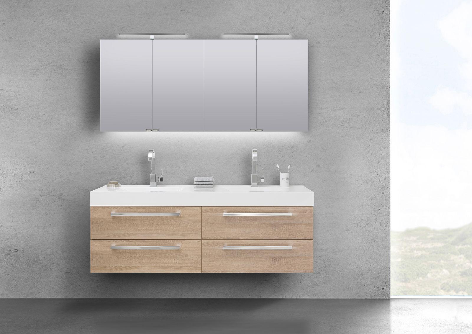 Badmöbel Set Doppelwaschtisch 160 cm mit 4 Auszügen und Spiegelschrank