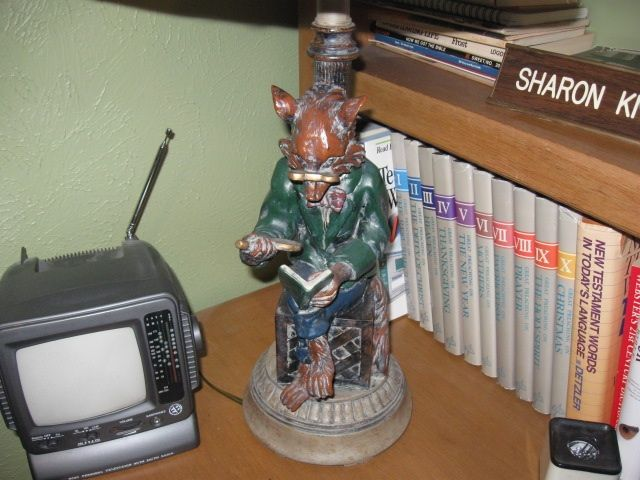 Fox lamp in library. Home appliances, Fox