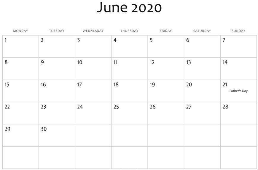 June 2020 Calendar With Holidays Usa Uk Canada India Australia