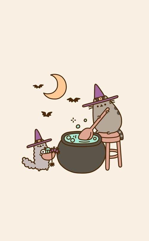 Pusheen Halloween Wallpaper Iphone Halloween Wallpaper Backgrounds Cute Fall Wallpaper