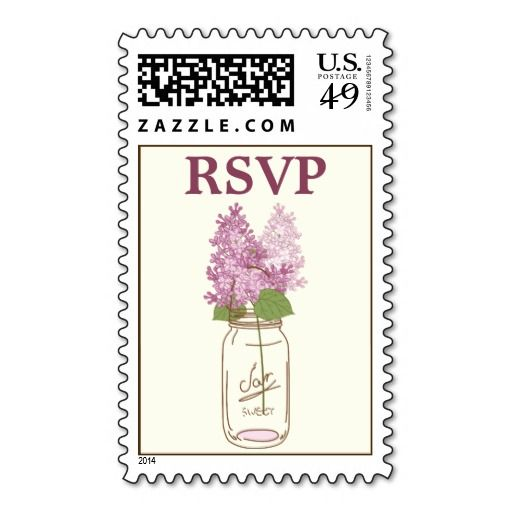 Mason jar and lilac flower wedding RSVP Stamps