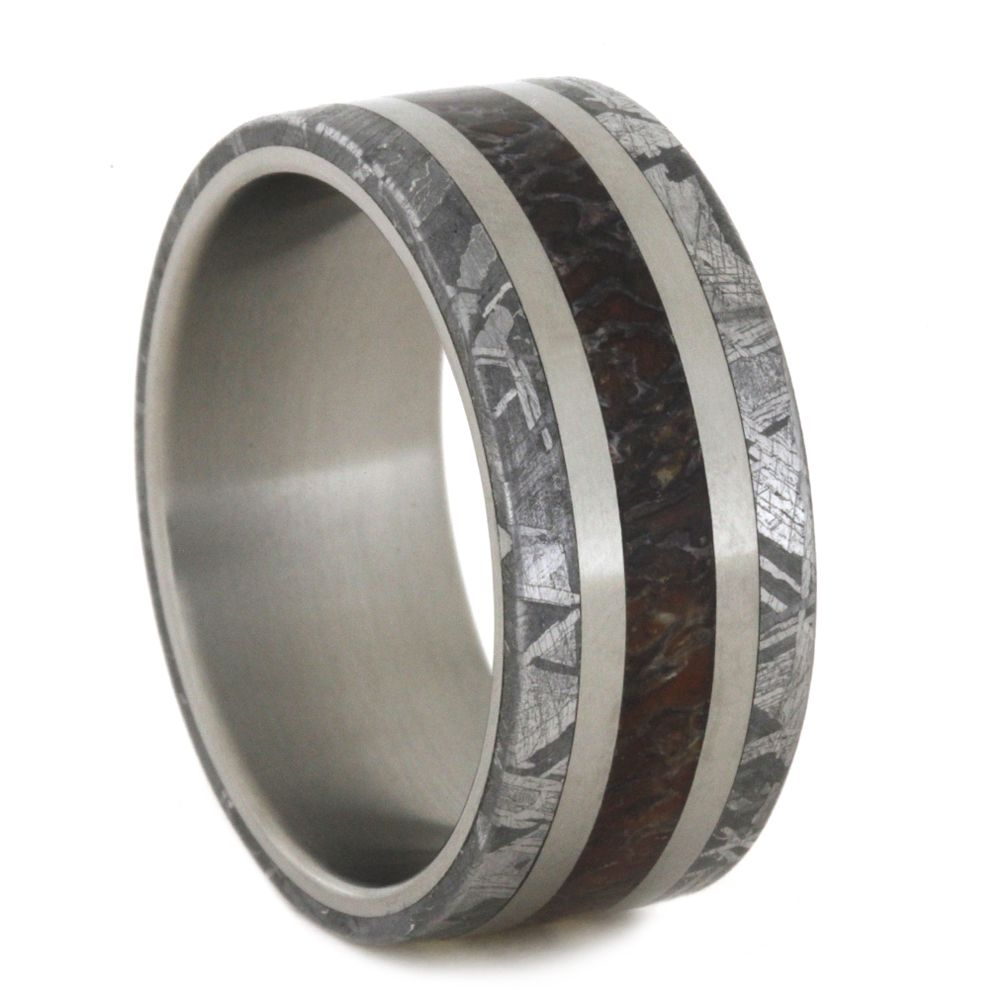 wedding red band rings with inlay dinosaur bone tungsten dyscinitus carbide