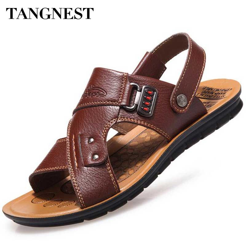 53b8b537bd77 Tangnest Men Sandals 2017 Summer New Men Beach Slippers Pu Leather Slip On  Sandals For Man Casual Beach Shoes Size 38~44 XMT201