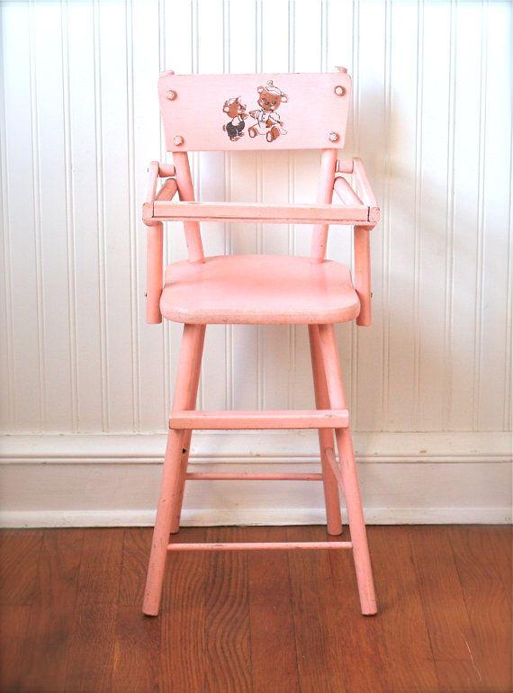 Circa 1950s Pink Wooden Doll High Chair Cass Teddy Bear & Circa 1950s Pink Wooden Doll High Chair Cass Teddy Bear | High chairs