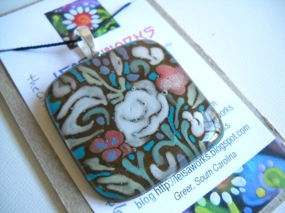 Fused glass pendant based on vintage fabric swatch