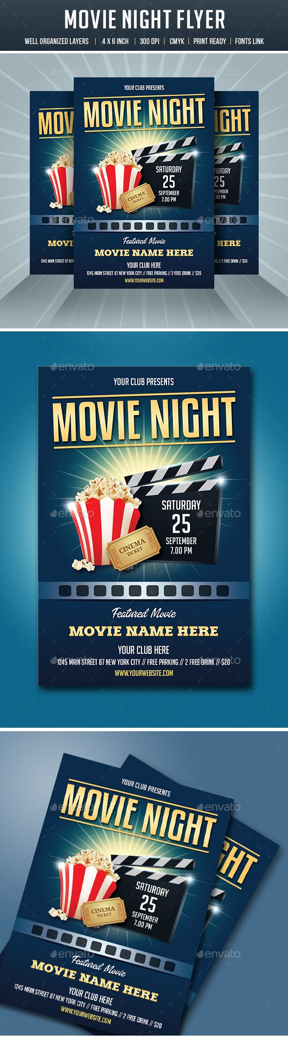 Free movie night flyer template erkalnathandedecker movie night flyer flyer template template and font logo maxwellsz