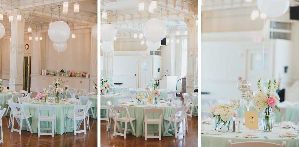 A #mintthemedwedding designed by @chelseyarnal with Events & Experiences. #Mintgreen linens with #ballooncenterpieces at the #ScottishRiteCrystalBallroom Photo by #sixfourteenphotography