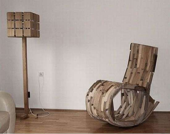 Hrvoje Vulamas O2 Rocking Chair Is Made Out Of Scrap Pieces Wood Design Trendhunter