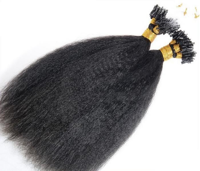 Kinky Straight Loop Micro Ring Hair Extensions14 30 Natural Black