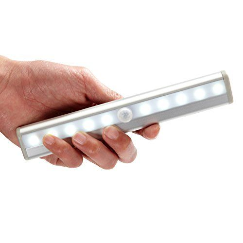 10 LED Portable Motion Sensor Closet Light Night Cabinet Battery Powered Strip