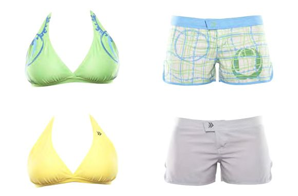 """Dry Dudz are perfect for an active water-sports holiday,"""" says Morse. Try them in water parks, on cruise ships, and at the beach, too. The suits' WikTec material dries very fast, and the bottoms are designed to be worn as shorts for when you're out of the water and on the go. Prices vary: Hybrid board shorts are $65 each, bikini tops are $25 each, and men's board shorts are $75 each."""