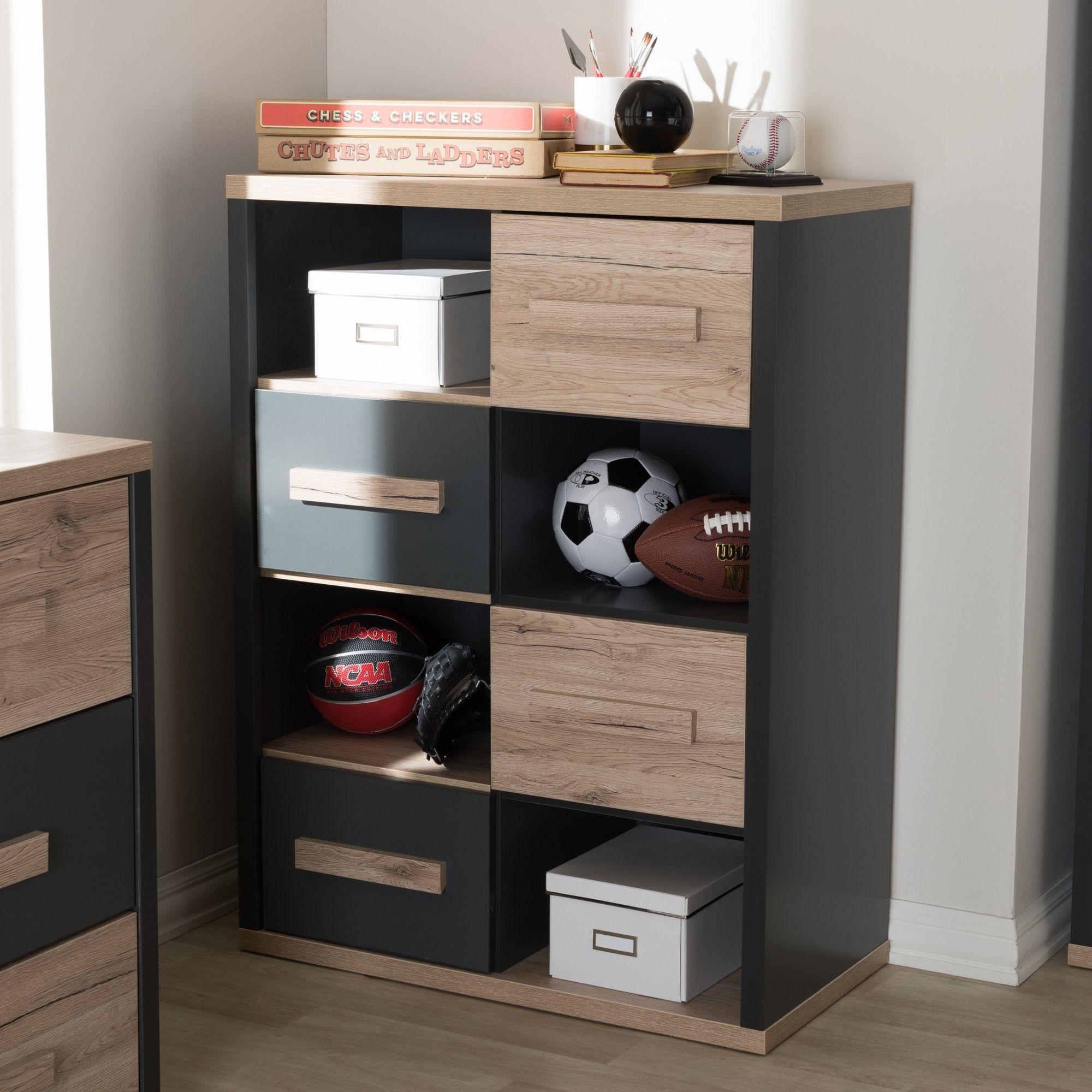 Baxton studio contemporary grey brown wood drawer storage cabinet