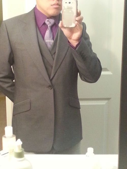 Dark purple shirt, charcoal three piece suit. | Suit looks for ...