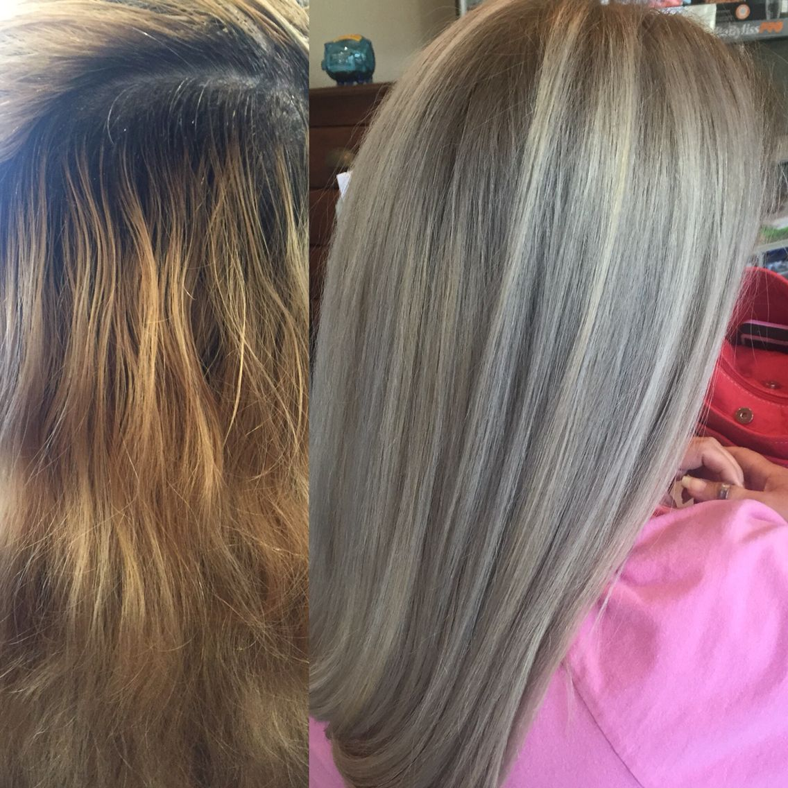 From Grown Out Golden Blonde To Ash Blonde Hair Color Makeover