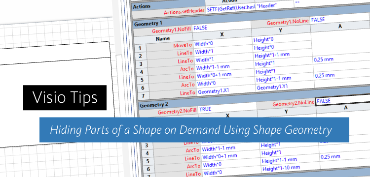 visio tips hiding parts of a shape on demand using shape geometry independent - Visio Bracket Shape