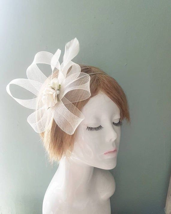 Vintage Ivory Rose and Pearl Cluster with Statement Sinamay Swirls and Feather Fascinator HeadBand