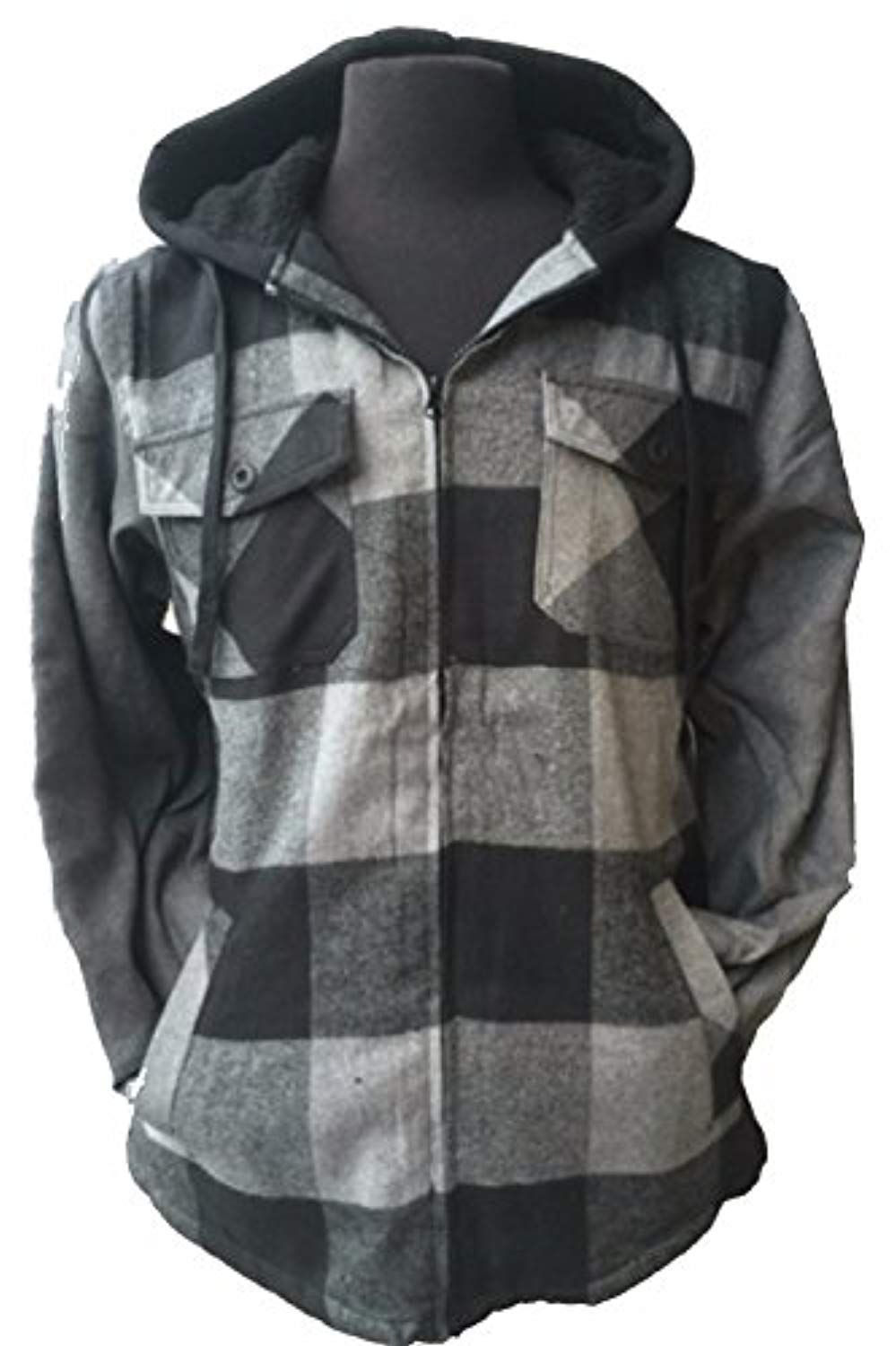 Big and Tall Men's Full Zip Hooded Flannel Jacket Sherpa ...