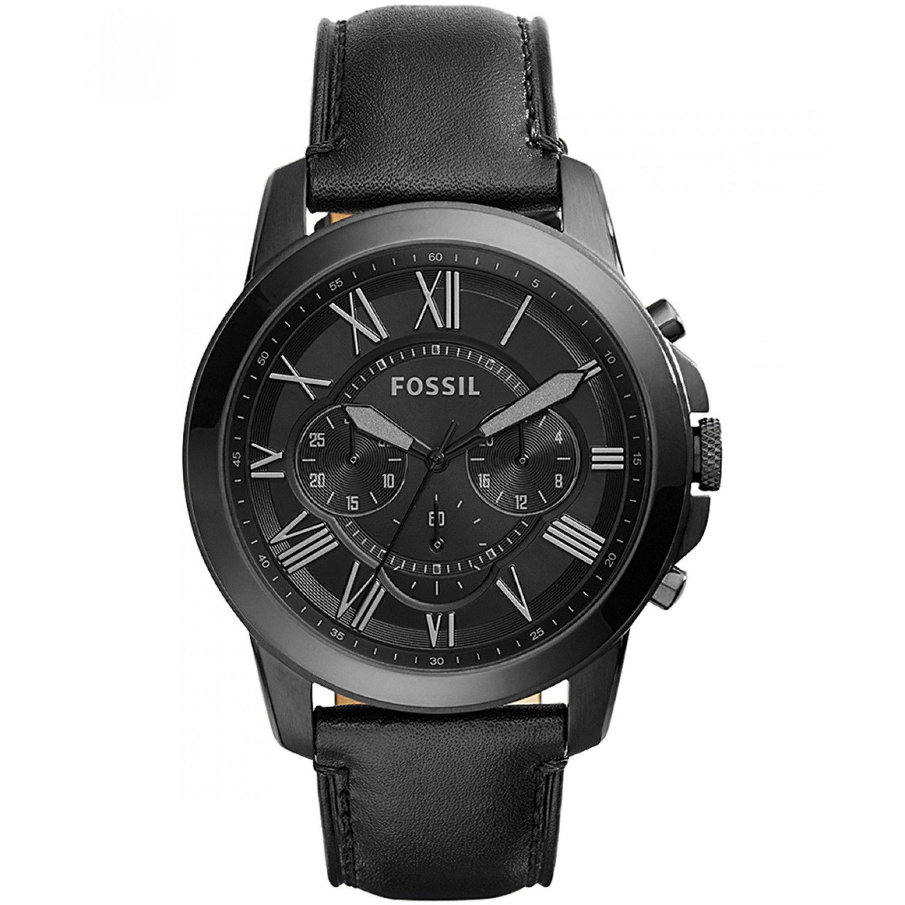 ba873c3a9d06 Reloj Fossil con extensible de correa en piel negro y manecillas  luminiscentes.