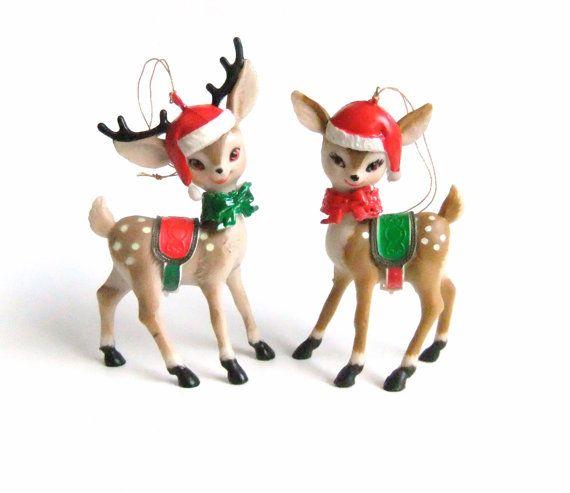 Christmas Reindeer Figurines, Reindeer Ornaments, Plastic Deer ...