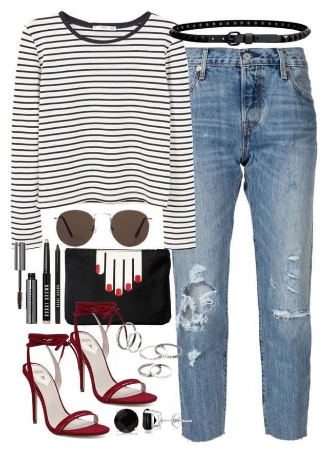 """""""Outfit for work"""" by ferned ❤ liked on Polyvore featuring Levi's, MANGO, Lulu Guinness, Windsor Smith, Linea Pelle, Bobbi Brown Cosmetics and Allurez"""
